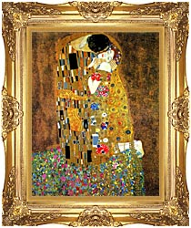 Gustav Klimt The Kiss Detail canvas with Majestic Gold frame