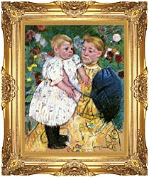 Mary Cassatt In The Garden 1893 canvas with Majestic Gold frame