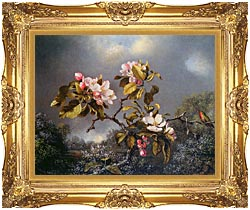 Martin Johnson Heade Apple Blossoms And Hummingbird canvas with Majestic Gold frame