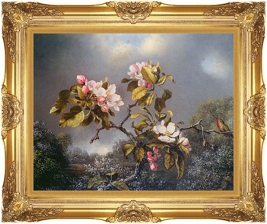 Martin Johnson Heade Apple Blossoms and Hummingbird with Majestic Gold Frame
