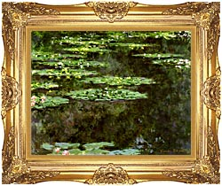 Claude Monet Water Lilies 1904 Detail canvas with Majestic Gold frame