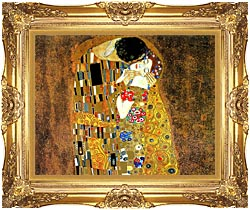 Gustav Klimt The Kiss Landscape Detail canvas with Majestic Gold frame