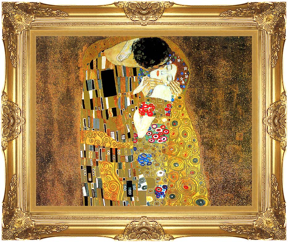 Gustav Klimt The Kiss (landscape detail) with Majestic Gold Frame