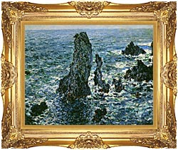 Claude Monet The Pyramids Of Port Coton canvas with Majestic Gold frame