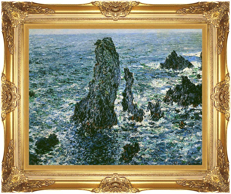 Claude Monet The Pyramids of Port-Coton with Majestic Gold Frame