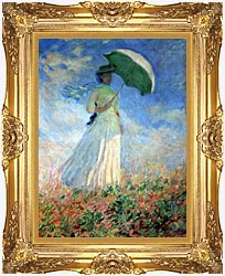 Claude Monet Woman With Umbrella Turned To The Right canvas with Majestic Gold frame