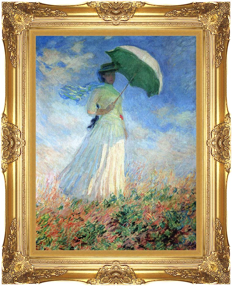 Claude Monet Woman with Umbrella Turned to the Right with Majestic Gold Frame