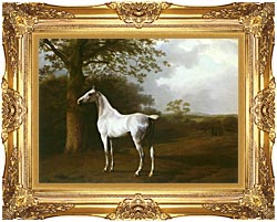 Jacques Laurent Agasse White Horse In A Meadow canvas with Majestic Gold frame