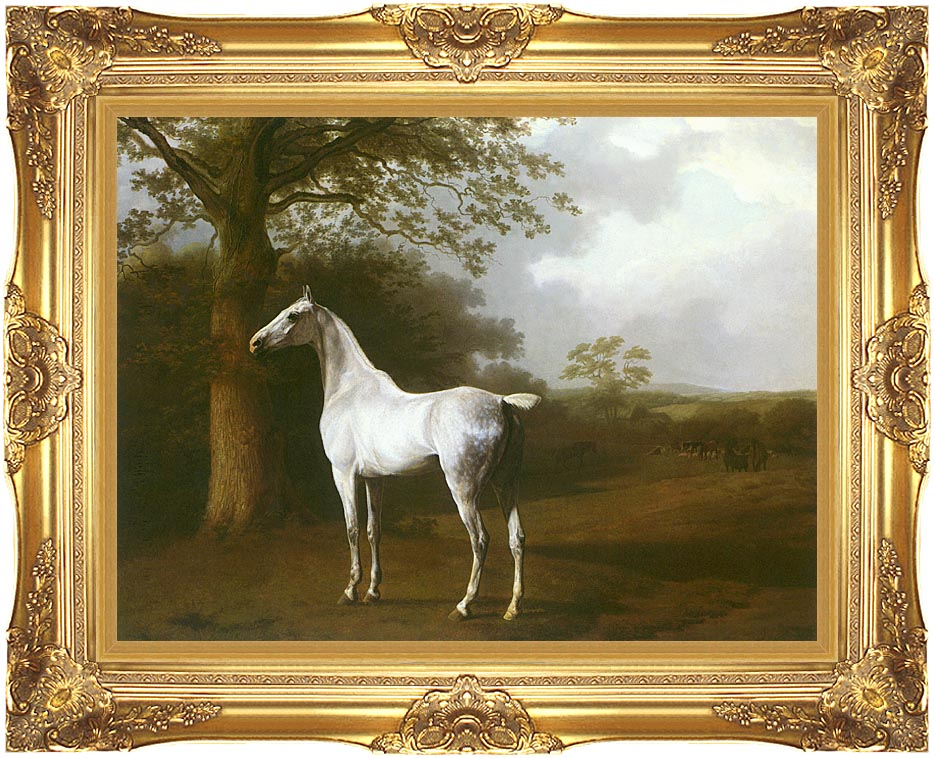 Jacques Laurent Agasse White Horse in a Meadow with Majestic Gold Frame