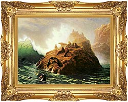 Albert Bierstadt Seal Rock canvas with Majestic Gold frame