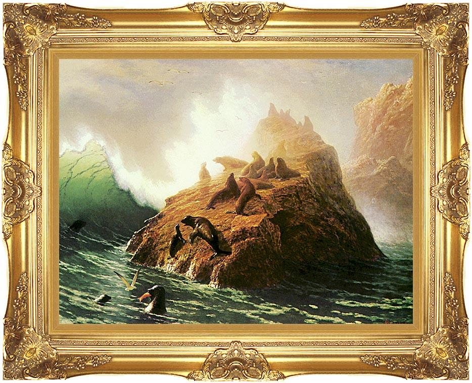 Albert Bierstadt Seal Rock with Majestic Gold Frame