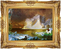 Frederic Edwin Church The Icebergs Detail canvas with Majestic Gold frame
