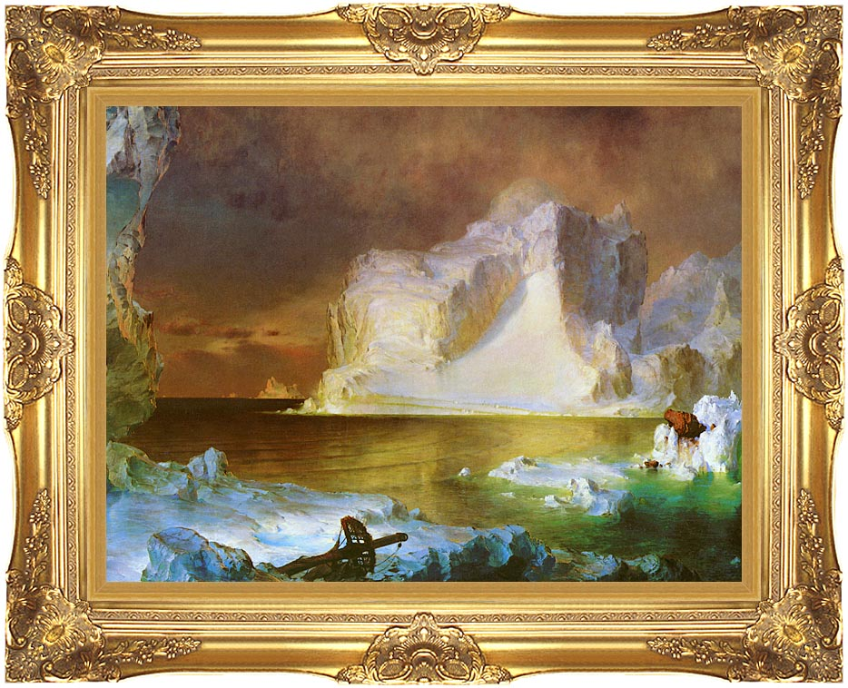 Frederic Edwin Church The Icebergs (detail) with Majestic Gold Frame