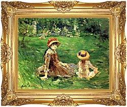 Berthe Morisot In The Garden At Maurecourt canvas with Majestic Gold frame