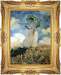 Claude Monet Woman With Umbrella Turned To The Left canvas with Majestic Gold frame