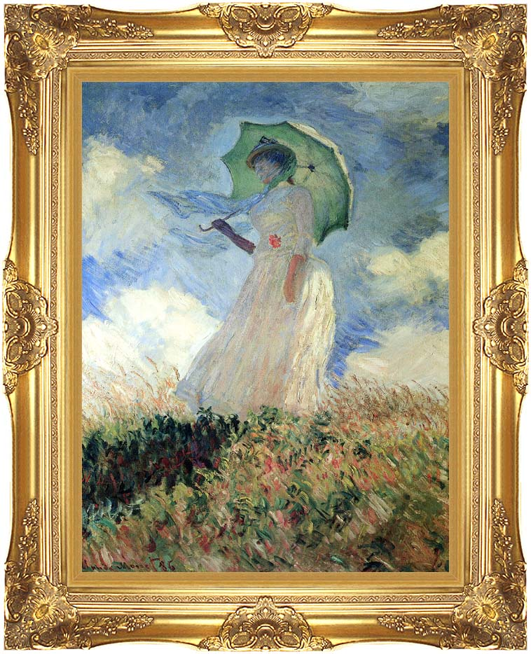 Claude Monet Woman with Umbrella Turned to the Left with Majestic Gold Frame