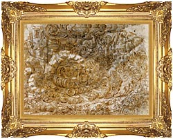Leonardo Da Vinci A Deluge canvas with Majestic Gold frame