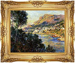 Claude Monet Monte Carlo Seen From Roquebrune canvas with Majestic Gold frame