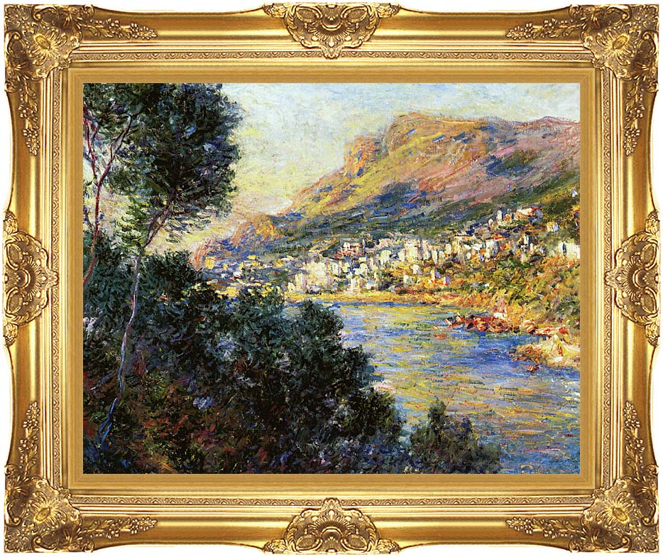 Claude Monet Monte Carlo Seen from Roquebrune with Majestic Gold Frame