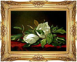 Martin Johnson Heade Giant Magnolias canvas with Majestic Gold frame