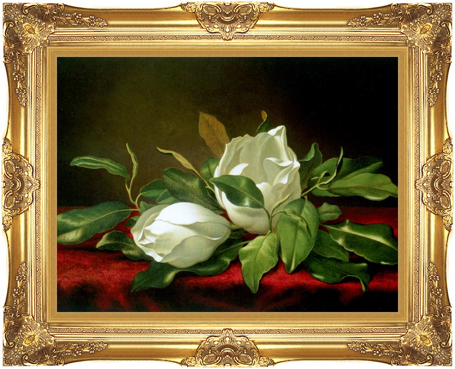 Martin Johnson Heade Giant Magnolias with Majestic Gold Frame