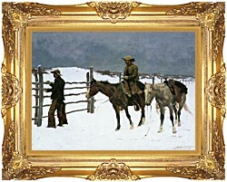 Frederic Remington The Fall Of The Cowboy canvas with Majestic Gold frame