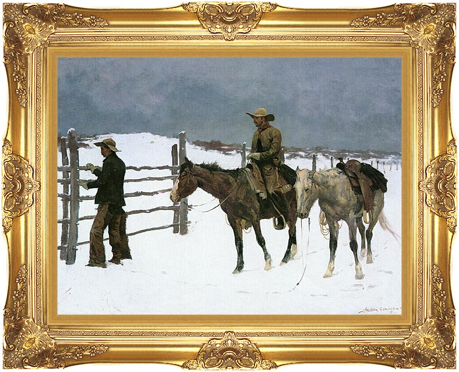 Frederic Remington The Fall of the Cowboy with Majestic Gold Frame