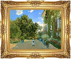 Claude Monet Monets House At Argenteuil canvas with Majestic Gold frame