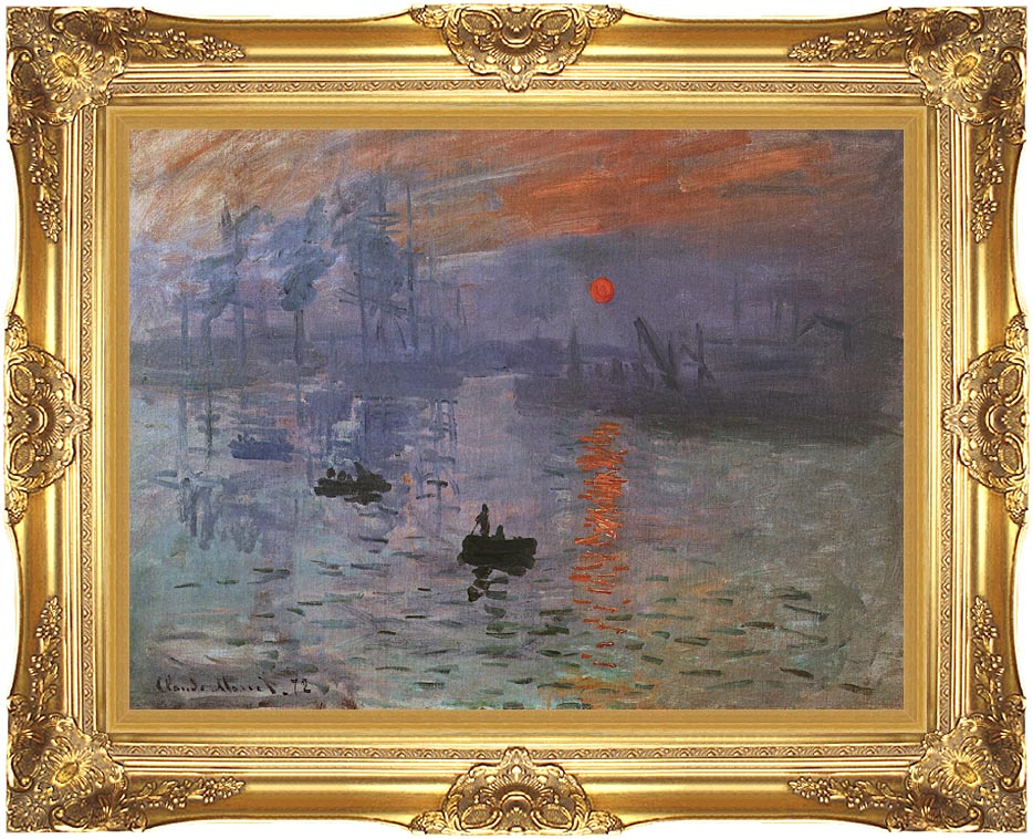Wall Art Painting With Frame : Claude monet impression sunrise framed art canvas
