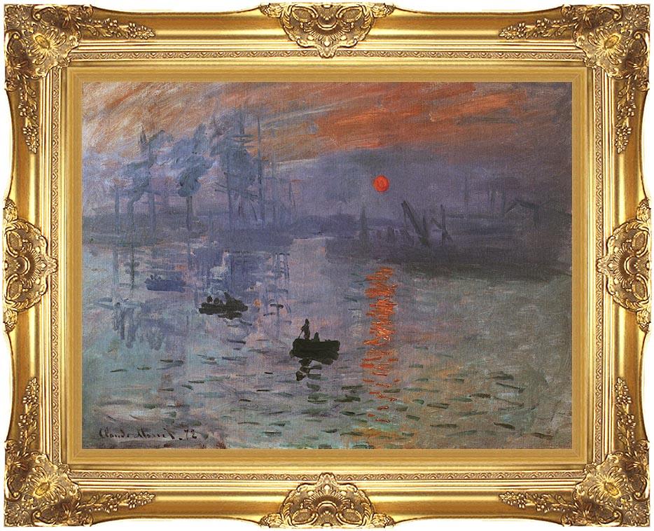 Claude Monet Impression Sunrise 12x16 Framed Art Canvas