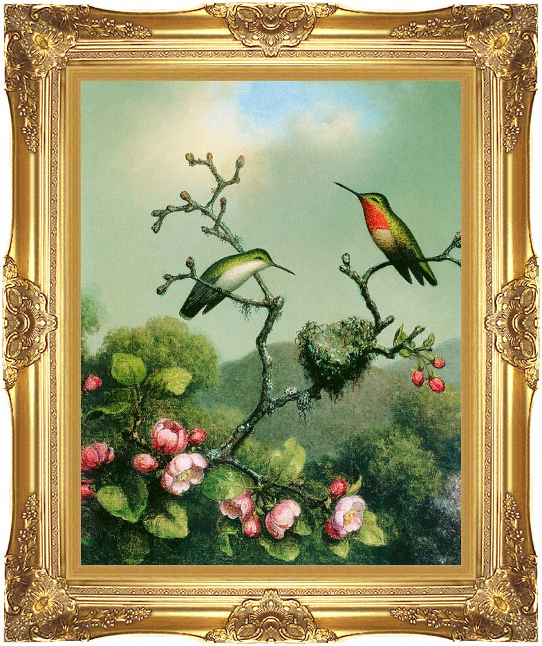 Martin Johnson Heade Ruby Throat of North America with Majestic Gold Frame