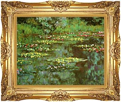Claude Monet Nympheas 1906 Detail canvas with Majestic Gold frame