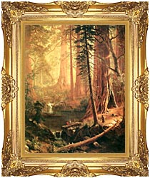 Albert Bierstadt Giant Redwoods Of California canvas with Majestic Gold frame