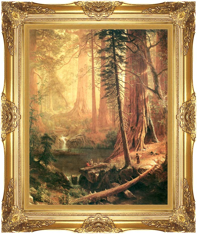 Albert Bierstadt Giant Redwoods of California with Majestic Gold Frame