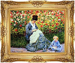 Claude Monet Camille Monet And Child In The Garden canvas with Majestic Gold frame