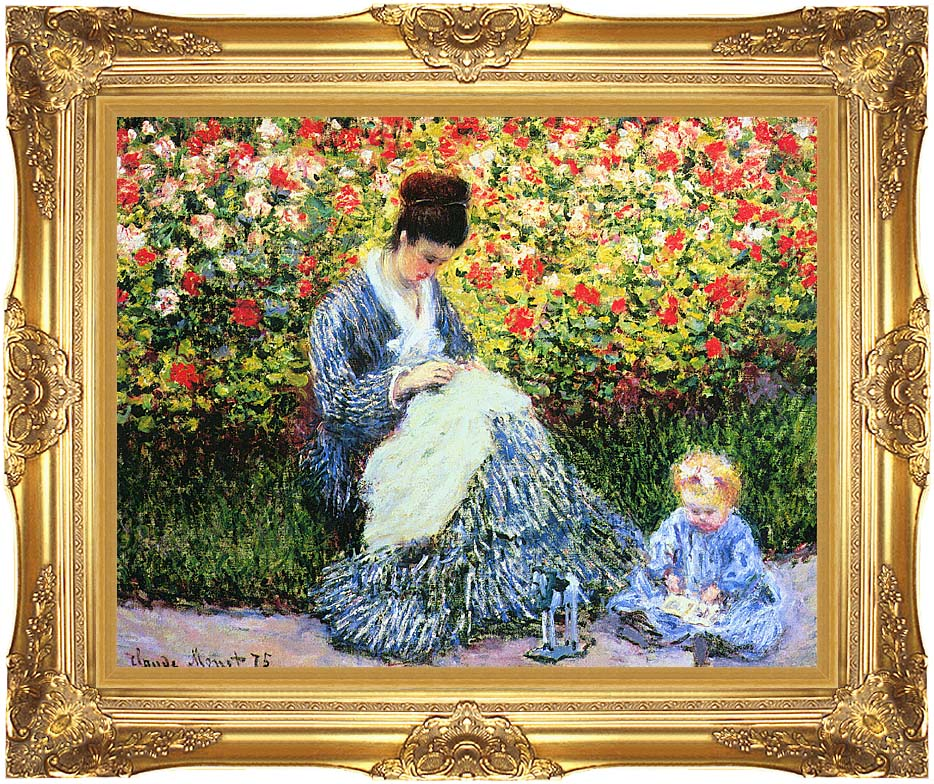 Claude Monet Camille Monet and Child in the Garden with Majestic Gold Frame