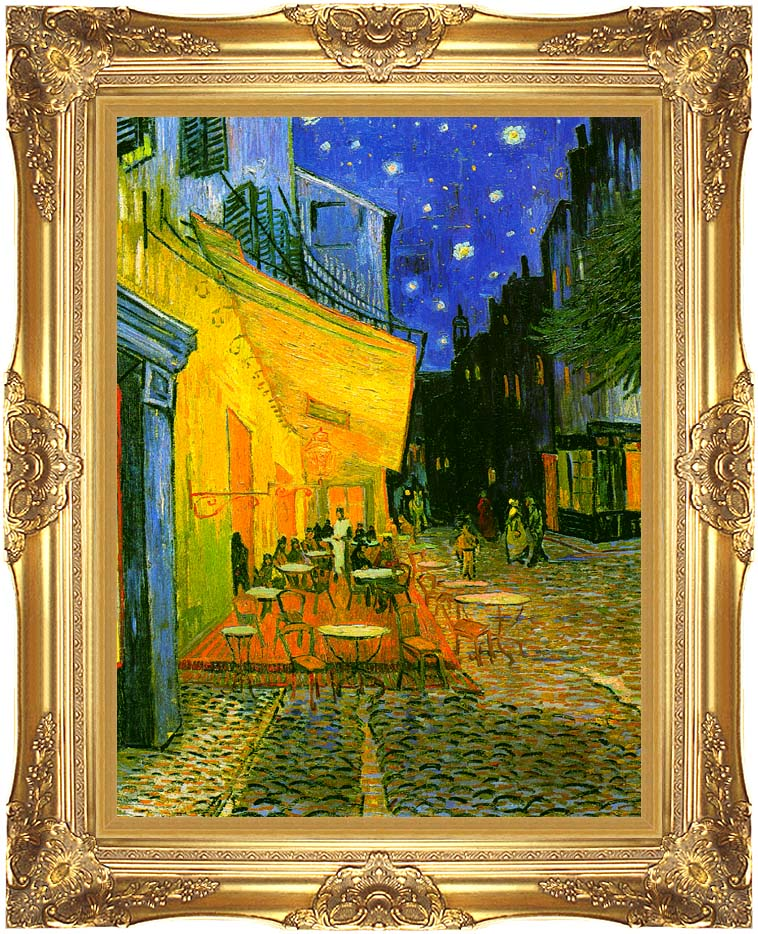 Vincent van Gogh Cafe Terrace at Night (detail) with Majestic Gold Frame