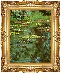 Claude Monet Nympheas 1906 Portrait Detail canvas with Majestic Gold frame