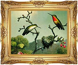 Martin Johnson Heade Ruby Throat Of North America Detail canvas with Majestic Gold frame