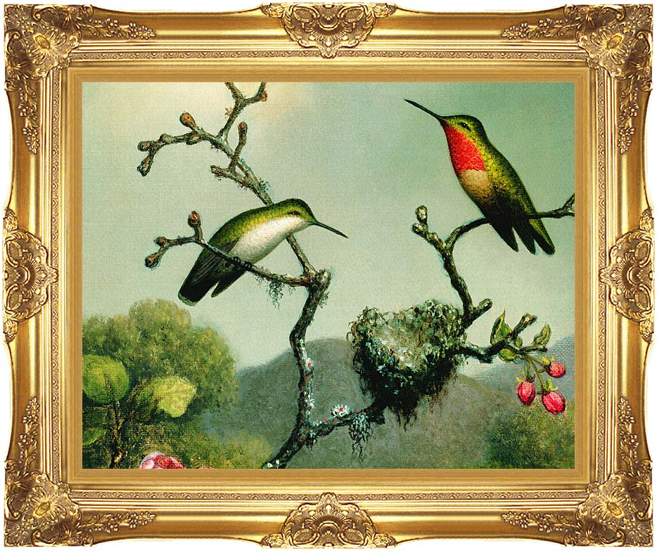 Martin Johnson Heade Ruby Throat of North America (detail) with Majestic Gold Frame