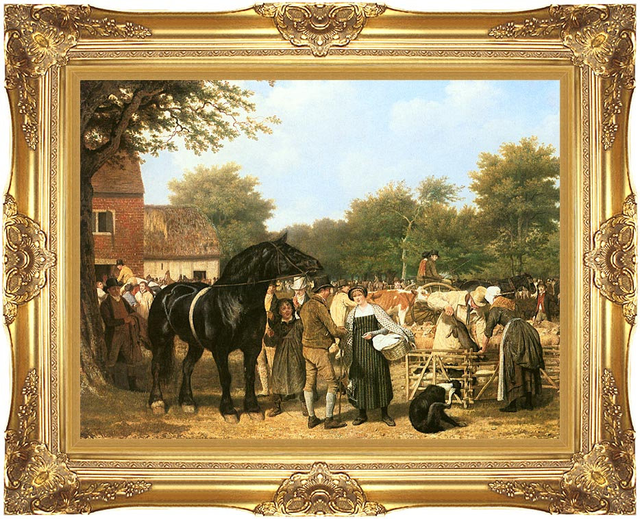 Jacques Laurent Agasse The Country Fair with Majestic Gold Frame