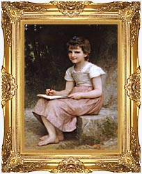 William Bouguereau A Calling canvas with Majestic Gold frame