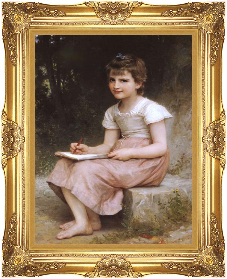 William Bouguereau A Calling with Majestic Gold Frame