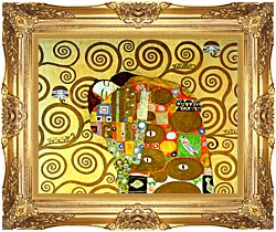 Gustav Klimt Fulfillment Close Up Detail canvas with Majestic Gold frame