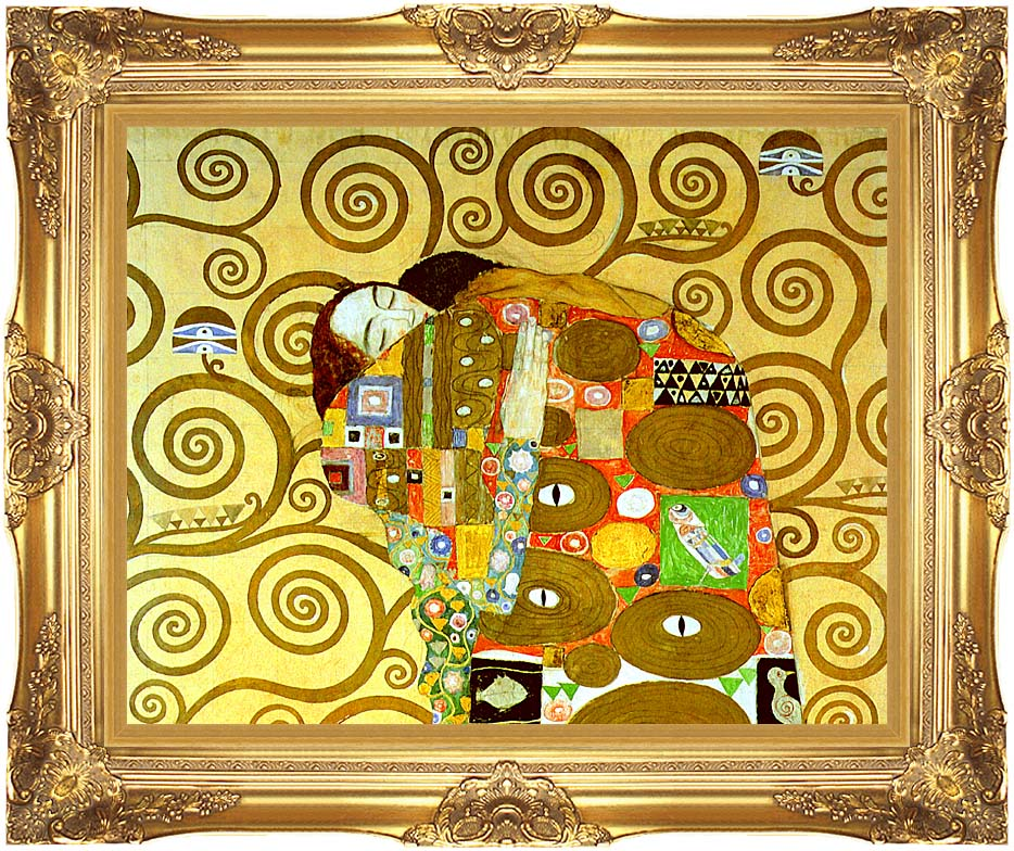 Gustav Klimt Fulfillment (close-up detail) with Majestic Gold Frame