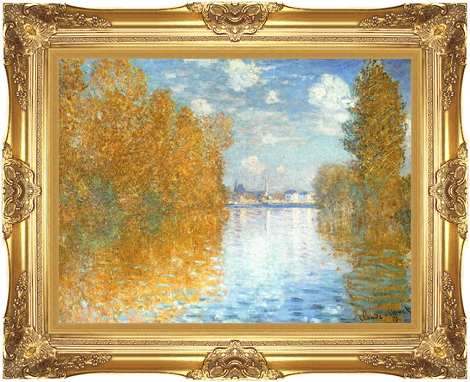 Claude Monet The Seine at Argenteuil, Autumn Effect with Majestic Gold Frame