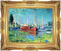 Claude Monet Red Boats Argenteuil canvas with Majestic Gold frame