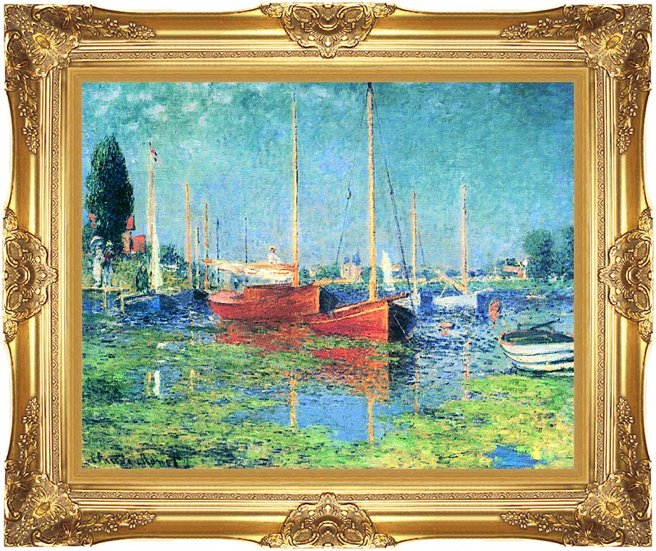 Claude Monet Red Boats, Argenteuil with Majestic Gold Frame