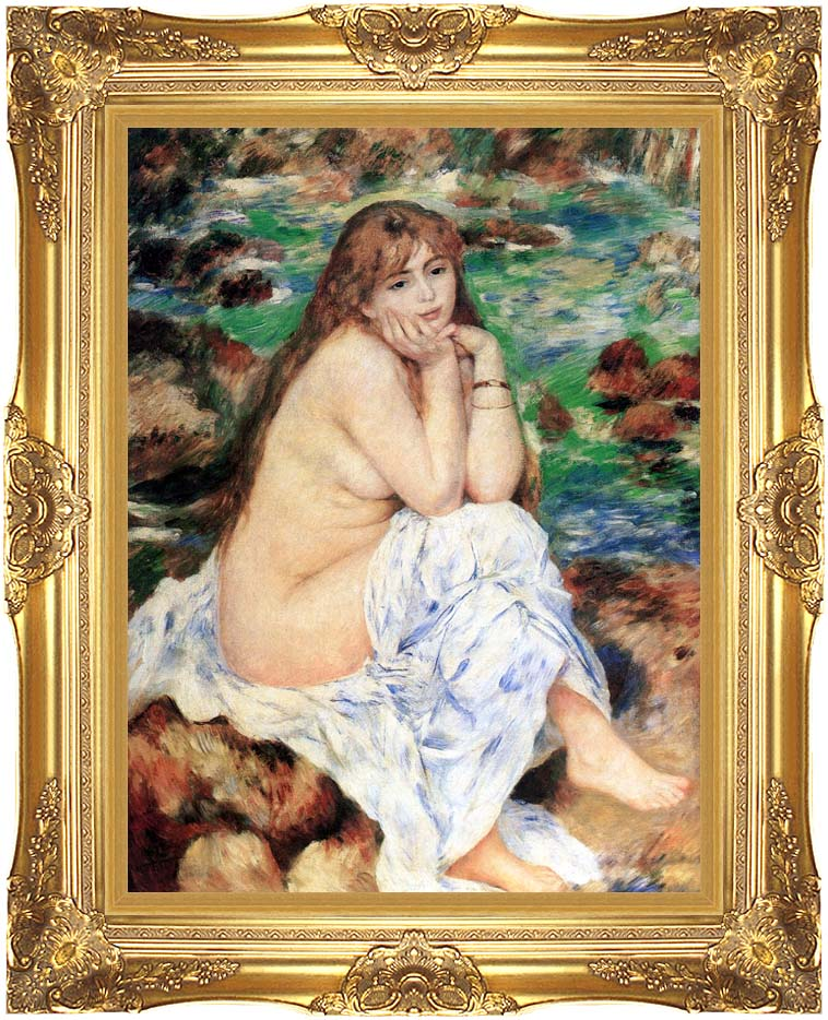 Pierre Auguste Renoir Seated Bather with Majestic Gold Frame