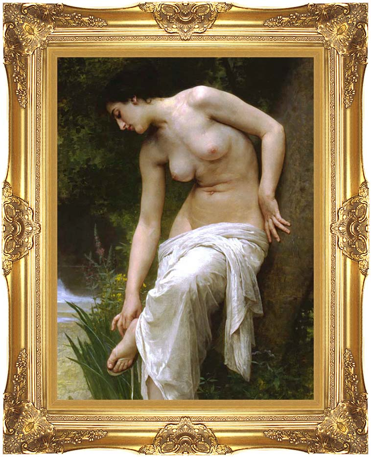 William Bouguereau Woman After the Bath with Majestic Gold Frame